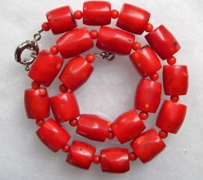 Beautiful New Wholesale bead Chunky Red Coral Barrel Bead Necklace 18