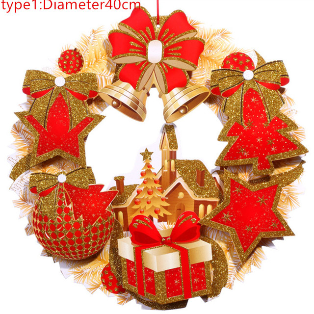 new christmas wreath garland hanging pendant decor window door ceiling decorations christmas tree ornament wall decals