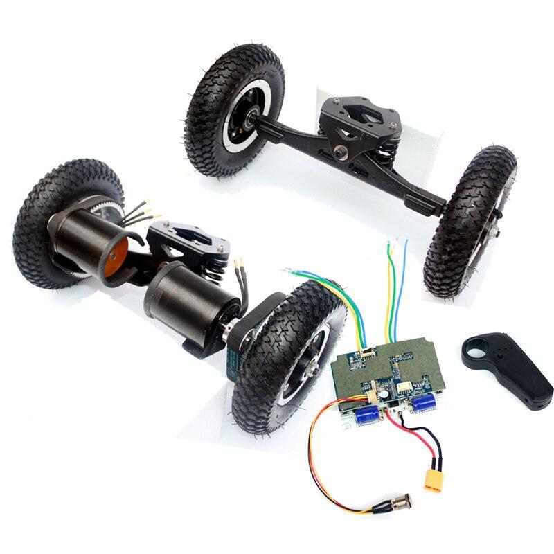 11 pulgadas camión monopatín eléctrico Motor sin escobillas 8 pulgadas Whlees Off Road Skateboard cinturón Drive puente 4 ruedas tabla larga