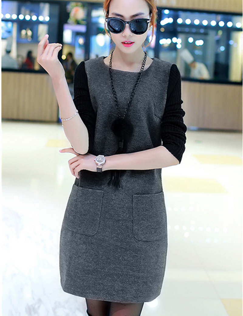 Causal Straight Wool Dresses Female O Neck Patchwork Long Sleeve Autumn Winter Warm Dress For Women