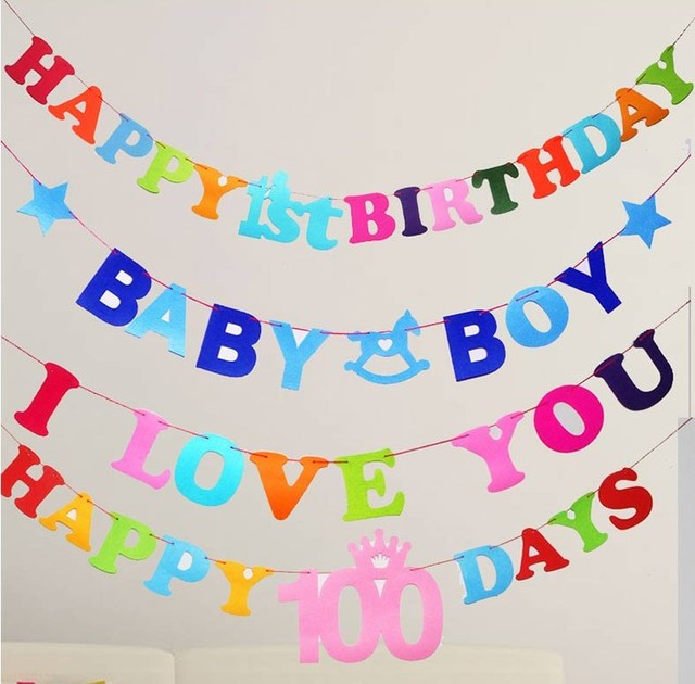Happy 1st Birthday Party Pennant Flags Baby Boy Girl 100 Days Celebration Paper Garland Decoration Kids Themes Supplies