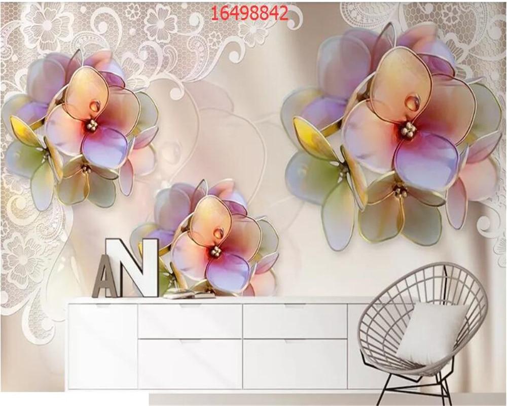 beibehang Custom size modern minimalist three-dimensional diamond flower jewelry background wall 3D TV wallpaper
