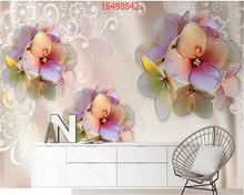 beibehang Custom size modern minimalist three-dimensional diamond flower jewelry background wall 3D TV wallpaper