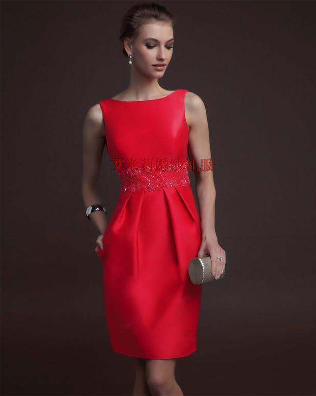 free shipping custom-made knee-length short red   prom     dresses   2016 New fashion vestido de festa hot sexy party evening gowns