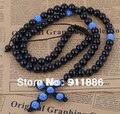 2014 Charm Black Crystal Rosary With Light Blue Shamballa Beads Cross Braid Shamballa Christian Necklace,Free Shipping