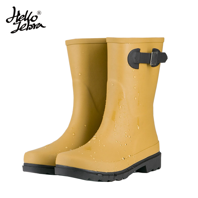 Hellozebra Women Rain Boots Fashion Simple Solid Color Tube Boot Mid-Calf Rubber Shoes Rain Water Shoes Spring and Summer 2018 hellozebra women rain boots waterproof fashion rubber elastic band solid color raining day shoes low heel 2017 autumn new href