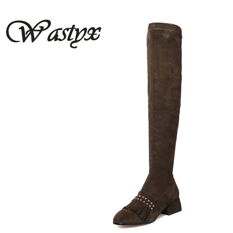 Wastyx new Over The Knee Boots Square Med Heel Women Boots Sexy Ladies Lace Up Stretch Fabric Fashion Boots Black winter shoes