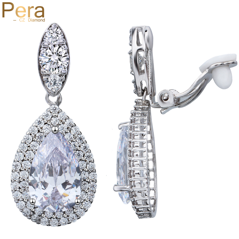 Pera Big Dangle Drop Zirconia Stone Dames Clip on Earrings Zonder Piercing Sieraden voor niet-doorboord oren E100
