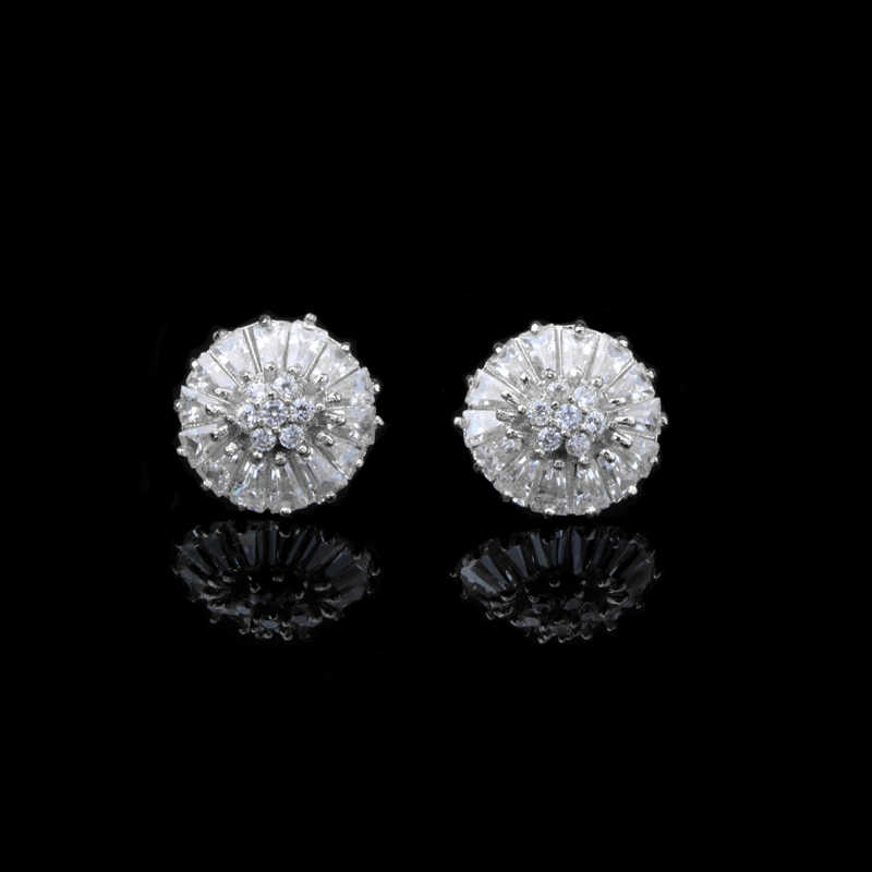 20fea1ed2e10 CHUKUI Sterling Silver 925 Earrings Korean Style Flower Crystal Earrings  Studs for Women Jewelry Wedding Fashion