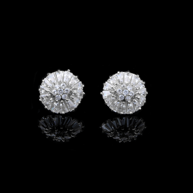 Chukui Sterling Silver 925 Earrings Korean Style Flower Crystal Studs For Women Jewelry Wedding Fashion