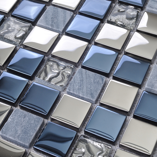 Kitchen Blue Wall Tiles: Stone Glass Tile Blends Kitchen Backsplash Coverings