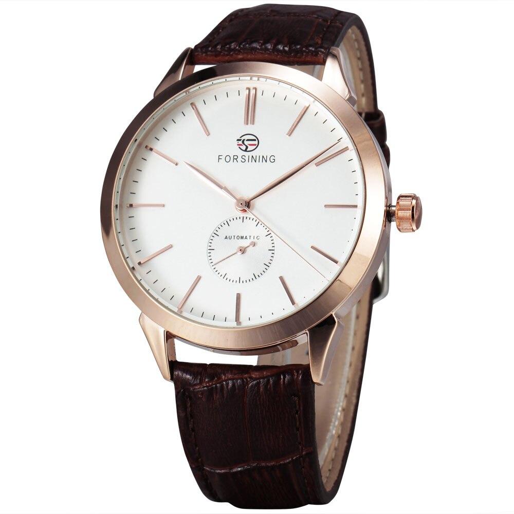 WINNER Fashion Classic Concise Precision Men s Mechanical Wrist Watch Leather Strap Sub Dial W Box