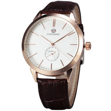 WINNER Fashion Classic Concise Precision Men s Mechanical Wrist Watch Leather Strap Sub Dial W Box
