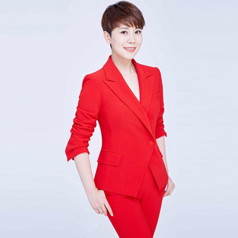 Costume femme 2019 automne et hiver nouveau costume professionnel grand rouge ensemble de décoration court paragraphe costume ouvert Bell-bottom pantalon