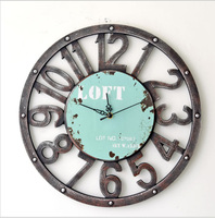 Large Creative Retro Rural Nostalgia Wall Clock Home Decor Time Vintage Hollowed out Watch loft Clock