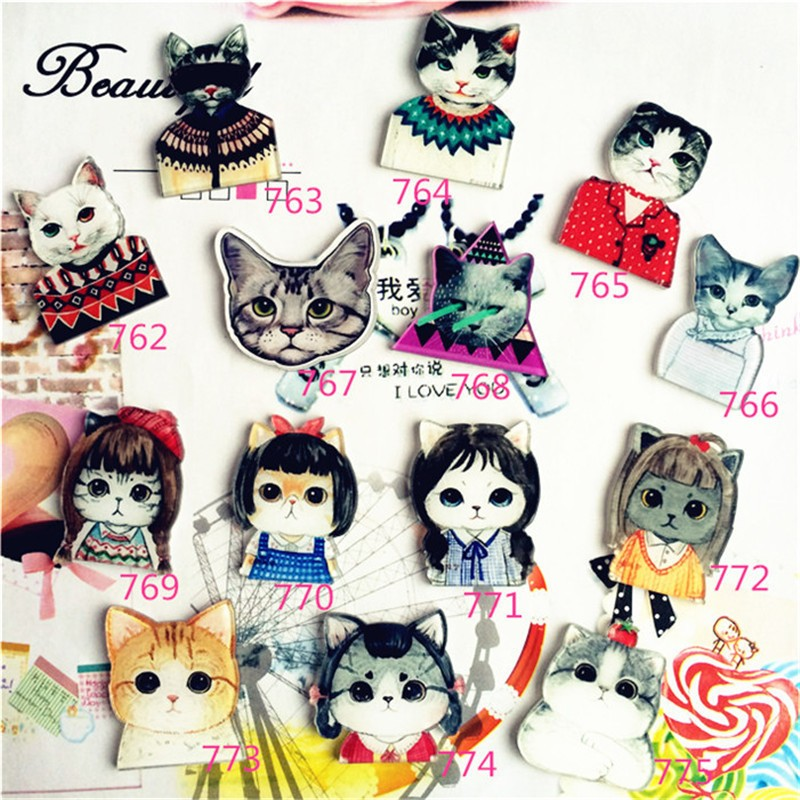 Acrylic HARAJUKU Badge Cat Brooches Pin Up Collar Tips Epaulette Broche Gifts Channel Brooch XZ37