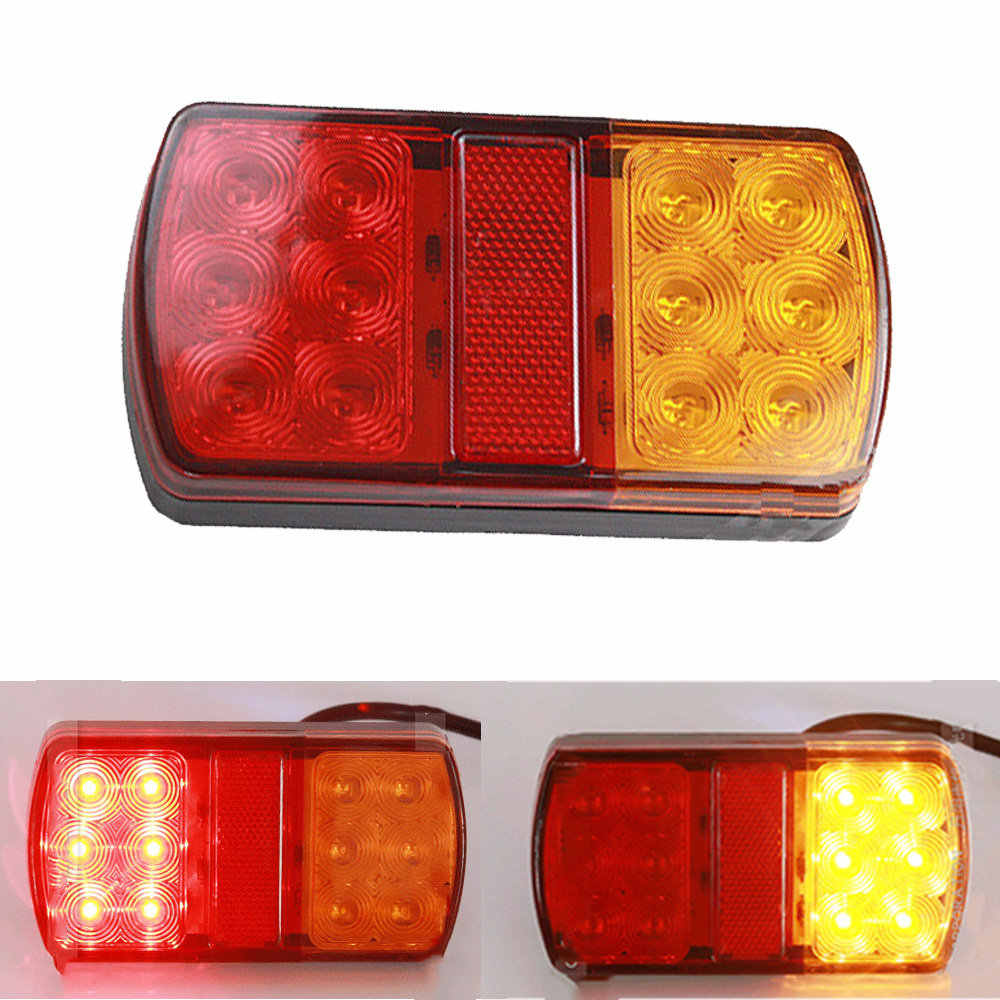 1Pair Waterproof 24 LED Taillights 12V Trailer Truck Lorry Stop Rear Tail Light Auto Car Signal Lamp Caution Indicator Fog Light