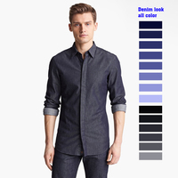 DENIM look jeans blue all color men's bespoke tailor made Dress casual Shirt bespoke tailor made MTM male blouse 2018 VA