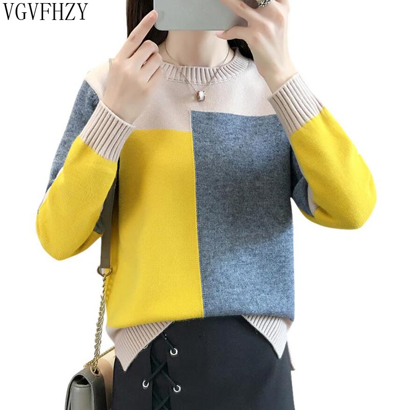Autumn winter Women Sweater Pullover 2018 New Fashion Colorblock O neck Loose Knit Bottom Sweater Large