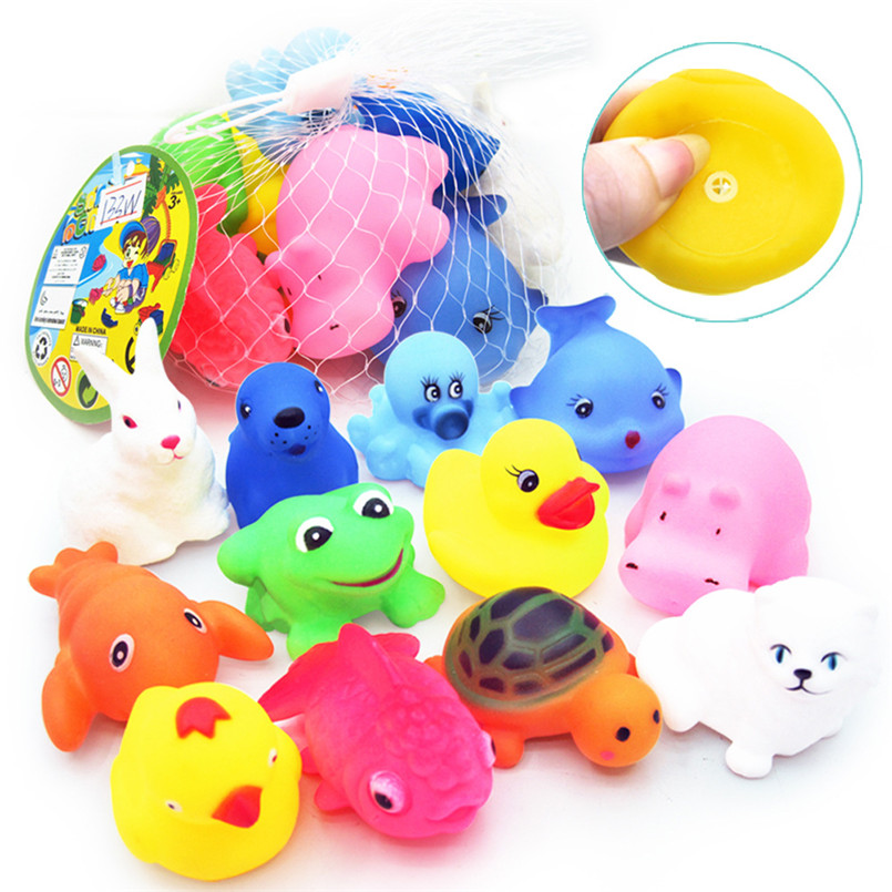 12 Pcs Baby Mixed Animals Swimming Water Bath Toys Soft Colorful Rubber Duck Swimming Squeeze Sound Bathing Toy Kids Children