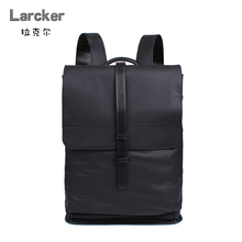 Ларкер бренд простота нейлон черный рюкзак плавно поясом из искусственной кожи в стиле пэчворк мужчины рюкзак мода продолговатые Рюкзак