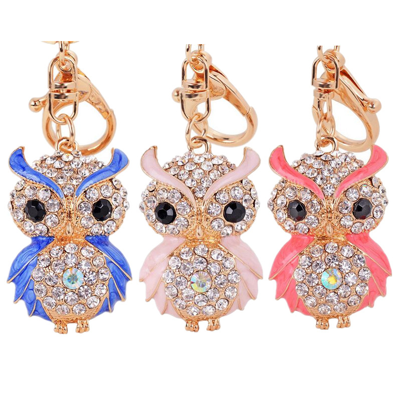 Owl Crystal Key Chain 1Pcs Cute Heat Sell For Car Keychains Pendant Rhinestones