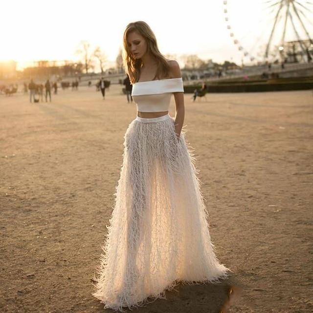 ea4582480 Gorgeous Maxi Skirt Long 2017 Saia Longa A Line Feathers Skirts Pockets  Faldas Women Skirts Floor Length
