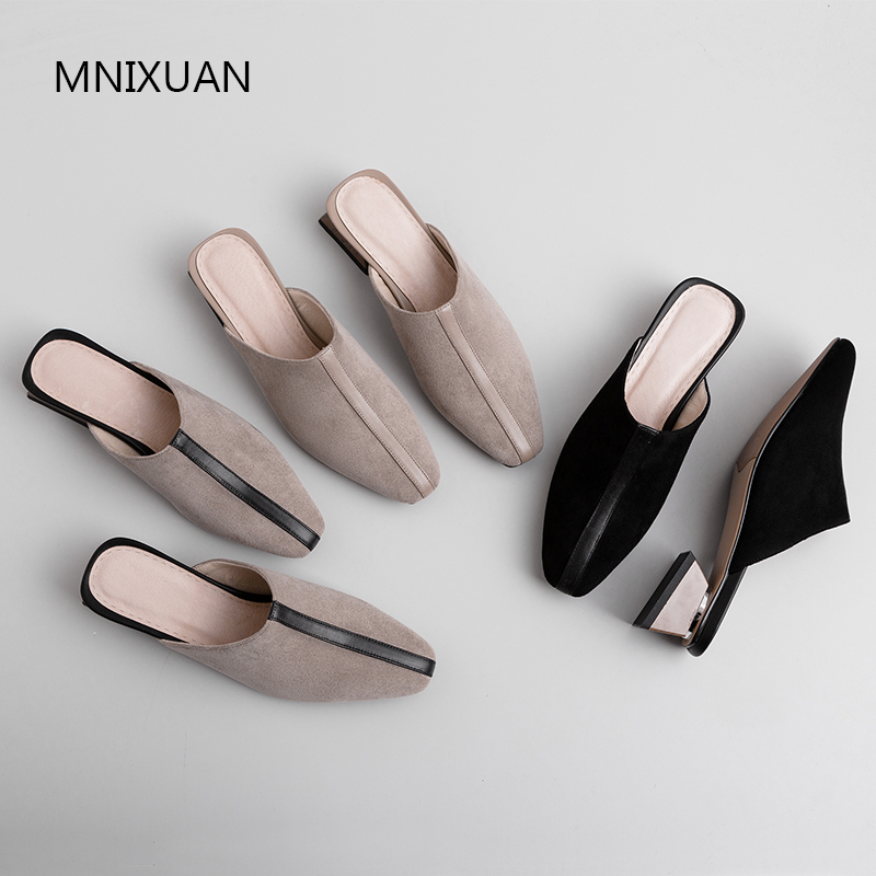 MNIXUAN Classics handmade women pump mules shoes 2019 spring summer new square toe suede slip on medium heels casual shoes blackMNIXUAN Classics handmade women pump mules shoes 2019 spring summer new square toe suede slip on medium heels casual shoes black