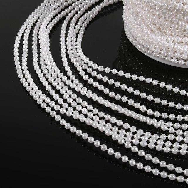 30M 50M Roll 3mm Pearls Beads Chain Garland Flowers Wedding Decoration DIY Craft Pearl String