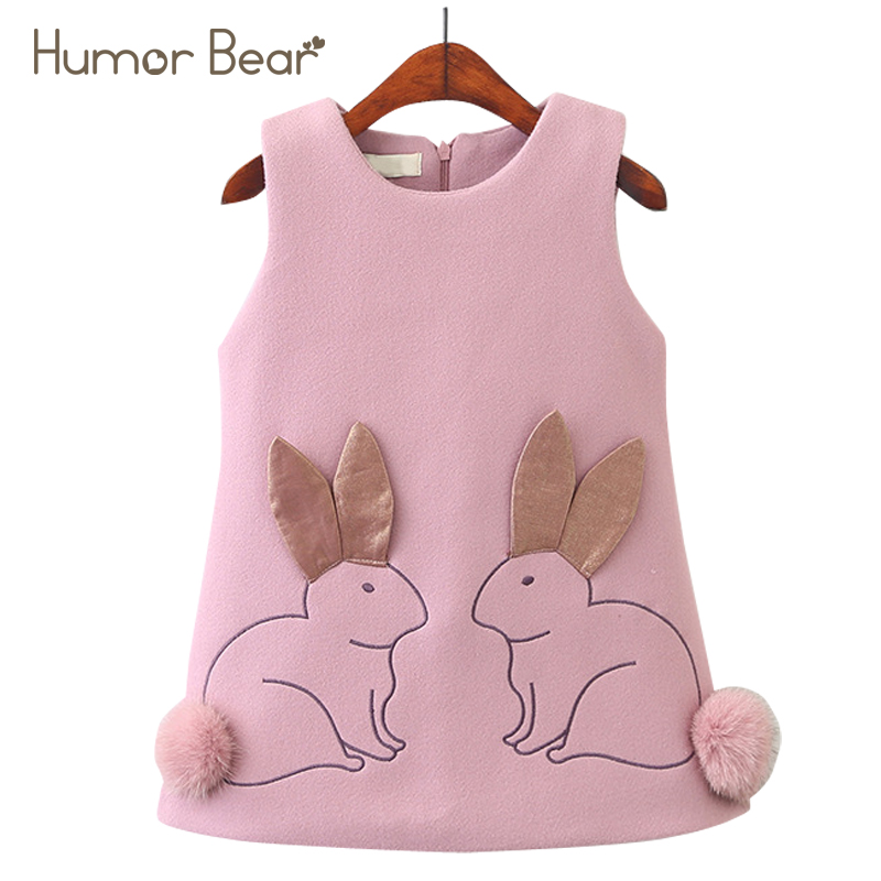 Humor Bear 2018 New Girls Sleeveless Cartoon Printing Design Vest Dress Princess Dress Girls Children clothing Kids Dress 2-6Y sleeveless 2017 new autumn fall winter girls princess dress brand vest dress solid cute children dress chidlren clothing 2 8y