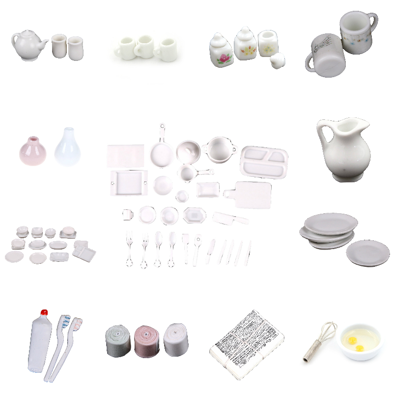 1:12 Doll House White Dishes/Cups Mugs/Toothpaste/Goddess Statue/Tissue Tableware  Miniature Accessories Furniture Toys