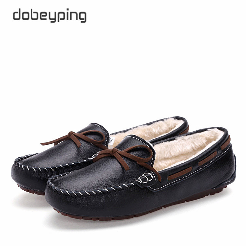 New Cow Leather Women Shoes Keep Warm Moccasins Shoes Woman Slip On Female Flats Fur Loafers Plush Winter Boat Shoe Size 35-41