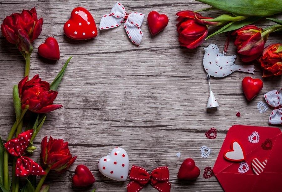 Laeacco деревянная доска роза любовь сердце день Святого Валентина фотографии задний план индивидуальные фотографические фоны для фотостудии