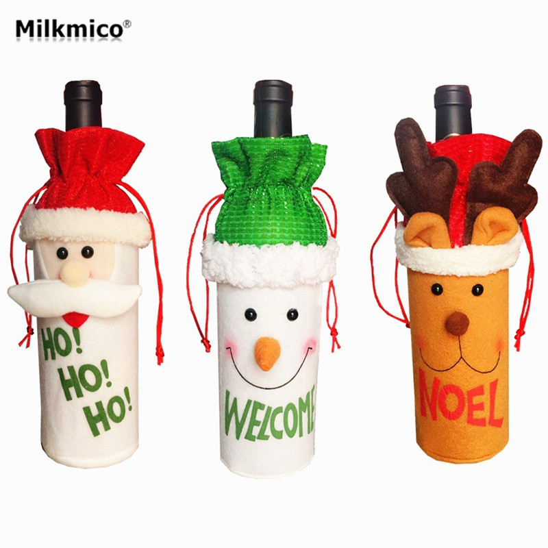 Milkmico 26*13CM Christmas Wine Bottle Bags For Home KTV Bar Decoration Wine Bottle Cover Set Xmas Party Decor Supplies 2017 New