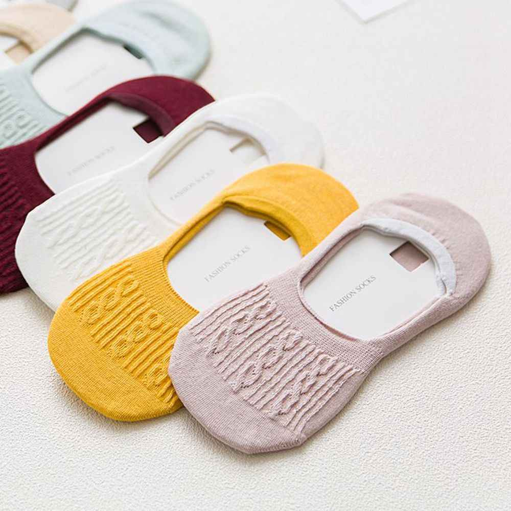Women Girls Fashion Invisible Non-slip Low Cut Socks Casual Cotton Breathable Ankle Boat Socks 8 Colors Available
