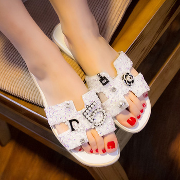 Crystal Summer Slipper Women Slippers Slides Sandals Word Hollow out Bling Non-slip Lady Shoes