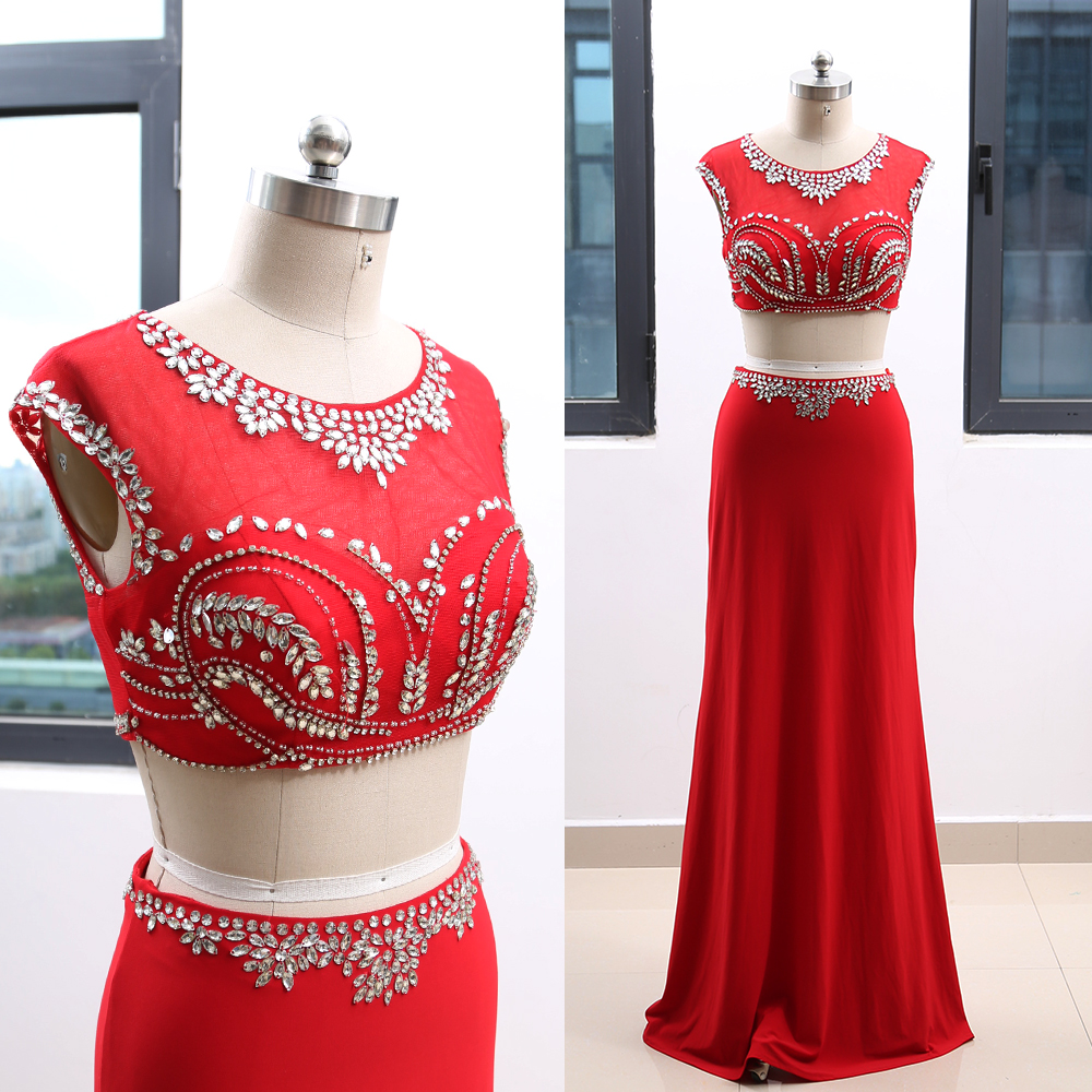 MACloth Red Sheath Scoop Neck Floor-Length Long Crystal   Prom     Dresses     Dress   L 264138 Clearance