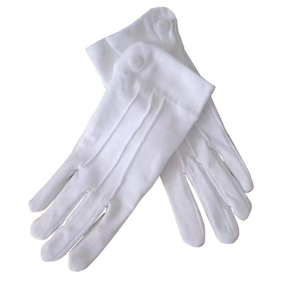 2019 Hot Men Cotton White Tuxedo Gloves Formal Uniform Guard Band Butler Unisex Gloves Parade Dress Uniform Guard Gloves