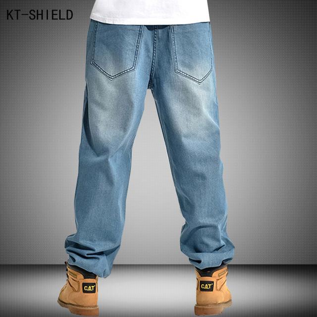 Marca Hombres biker Jeans Tamaño Grande Para Hombre de Hip Hop Baggy Jeans larga Floja de La Manera Patineta Relajado Fit Jeans Para Hombre Pantalones de Harén 30-46