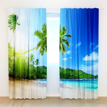 3D Beach View Printing Curtains with Bedding Room Living Room or Hotel Cortians Thick Sunshade Window Curtains