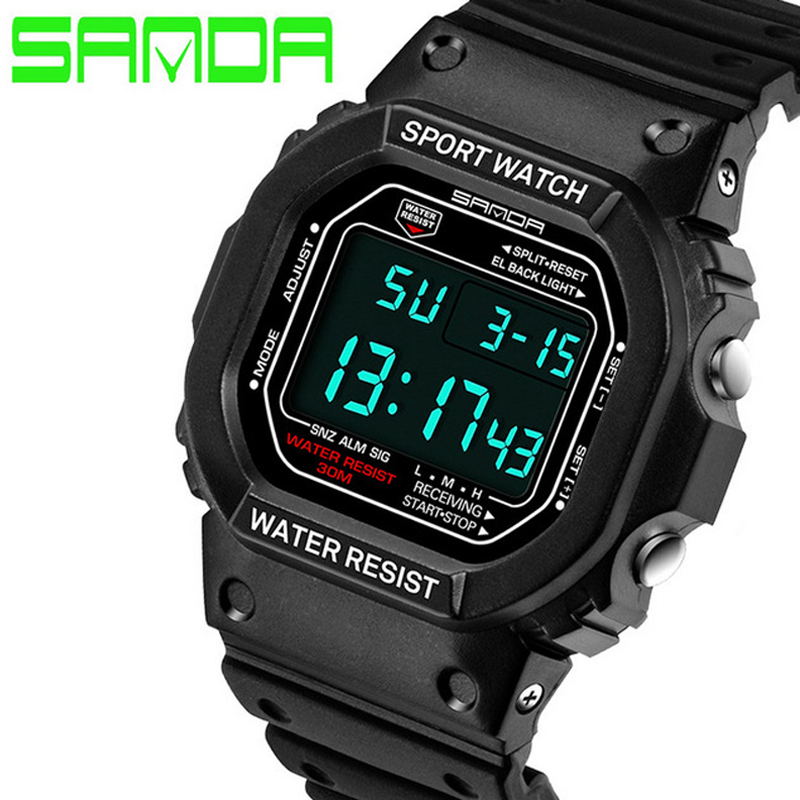 2017 SANDA Brand Digital Watch Sport Men Watch Military LED Digital Watch Dive 50M Fashion Wristwatches