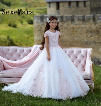 Princess Beautiful Pink Lace Flower Girl Dresses for Weddings Puffy Tulle Girls Birthday Dress First Communion Gown Custom Made