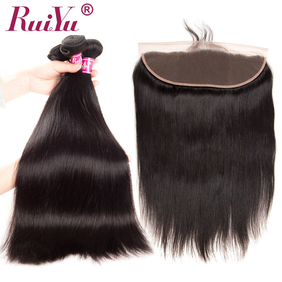 RUIYU Human Hair Bundles With Frontal Closure 13*4 Ear to Ear Lace Frontal Closure With Indian Straight Hair Bundles Non Remy