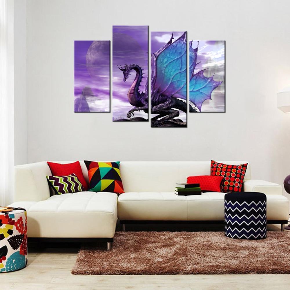 AtFipan Dragon Designs Wall Art Canvas Home Decor Modern Modular ...