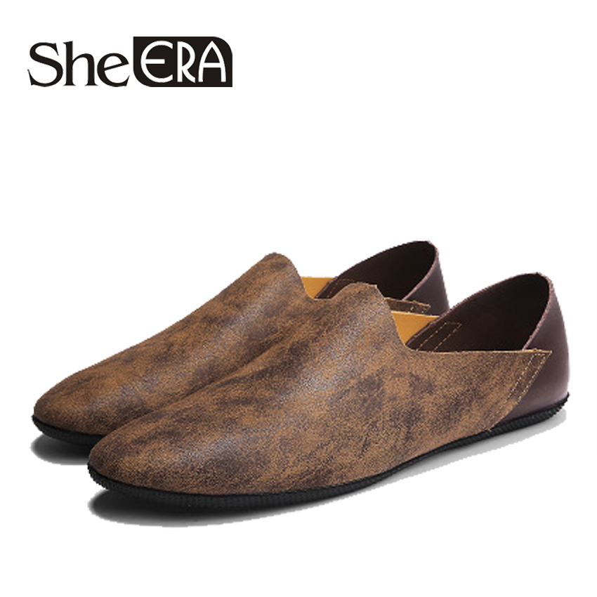 She ERA 2018 Size 38-44 Slip On Casual Men Loafers Spring Autumn Mens Moccasins Shoes Genuine Leather Men's Flats Footwear Shoes