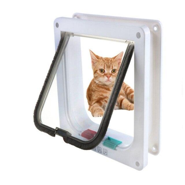 4 דרך הניתן לנעילה חמוד חיות מחמד חתול חתלתול דלת אבטחה דש דלת ABS פלסטיק S/M/L בעלי החיים קטן חתול כלב שער בטוח דלת ציוד לחיות מחמד