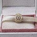 Encantos aptos Pandora Original de Plata 925 Perlas de Cristal de Oro de Los Encantos de la Pulsera Colgante de Joyería