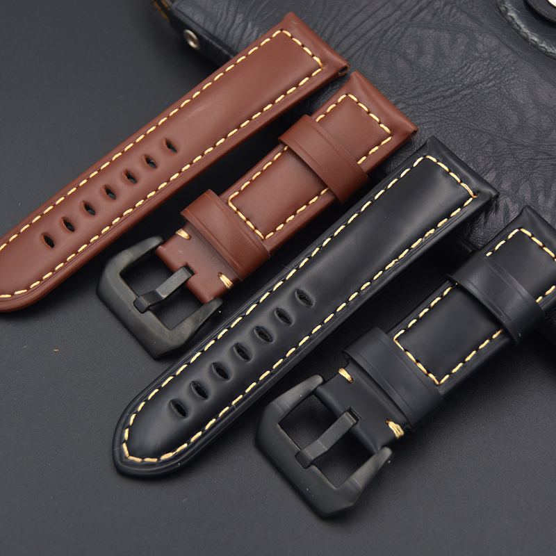 High quality oil skin leather Watch strap 20mm 22mm 24mm 26mm Genuine leather brown Watch band with For PAM Luxury black  buckle new arrive top quality oil red brown 24mm italian vintage genuine leather watch band strap for panerai pam and big pilot watch