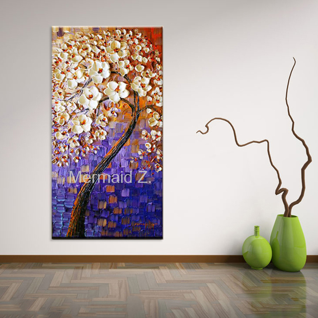 Mão Pintada Grosso Paleta Faca Pinturas A óleo Abstract Wall Art Pictures  Flores Da árvore