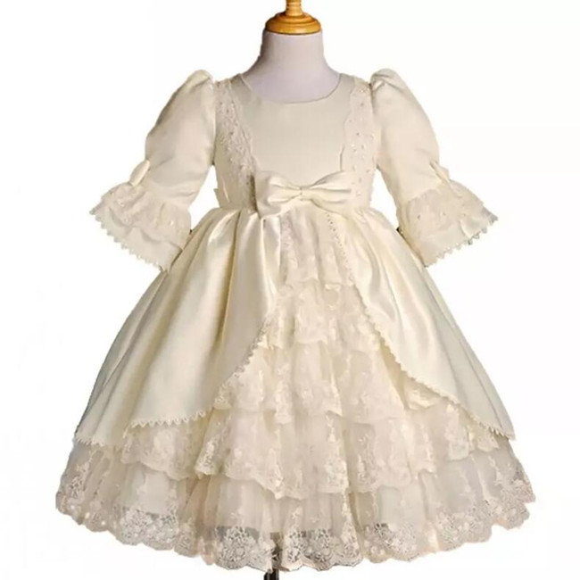 Vintage Gothic Christening Gown Tiered Lace Pearls Baby Gowns With Long Sleeves Infant Baptism Outfits gothic lace up tiered women s long dress